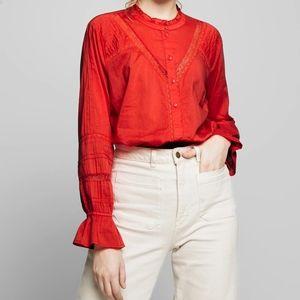 NWT CREAM cotton lace aurora red blouse